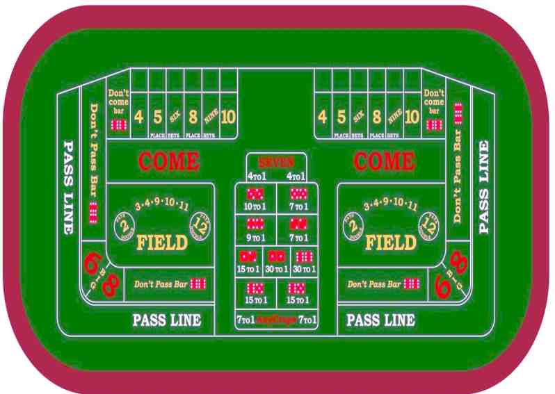 Craps table for interested players